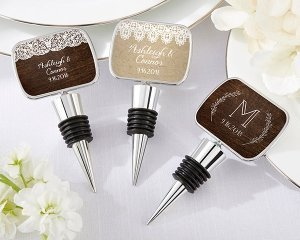 Personalized Rustic Charm Bottle Stopper Favors image