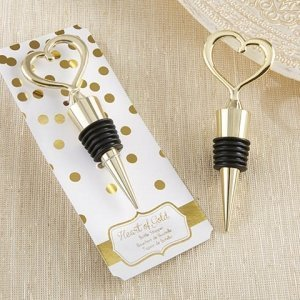 Heart of Gold Bottle Stopper Favors image