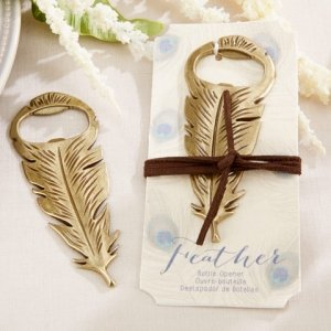 Gilded Antique Gold Feather Bottle Opener image
