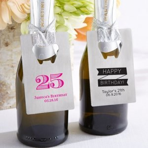 Personalized Silver Credit Card Birthday Bottle Opener Favor image