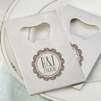 Personalized Boho Design Silver Credit Card Bottle Openers