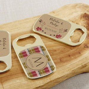 Personalized Fall Design Gold Bottle Opener Favors image