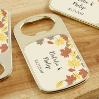 Personalized Fall Leaves Gold Bottle Opener Favors
