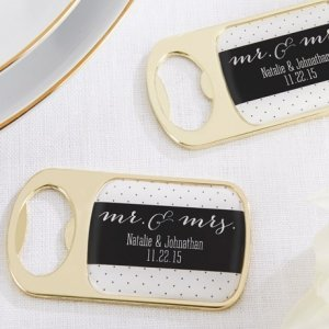 Personalized Mr. & Mrs. Gold Bottle Opener image