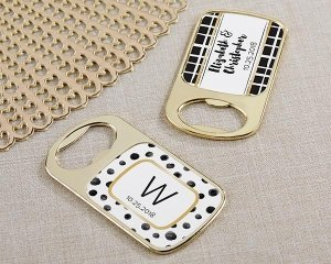 Personalized Modern Classic Gold Bottle Opener Favors image