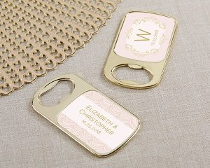 Personalized Modern Romance Gold Bottle Opener Favors image