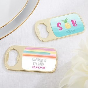 Personalized Pineapples and Palms Gold Bottle Opener Favors image