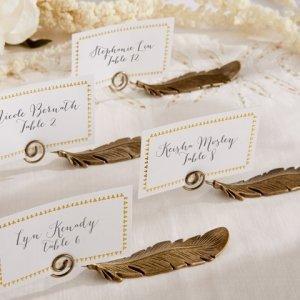 Gilded Gold Feather Place Card Holders (Set of 6) image