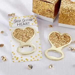 Gold Glitter Heart Bottle Opener Favor image