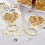 Gold Glitter Heart Bottle Opener Favor