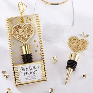 Gold Glitter Heart Bottle Stopper Favors image