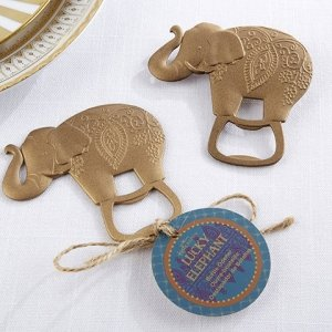 Lucky Golden Elephant Bottle Opener Favor image