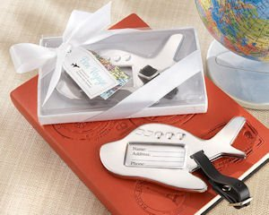 Bon Voyage Silver-Finish Airplane Luggage Tags image