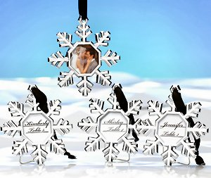 Snowflake Ornament Place Card Holder Set of 4