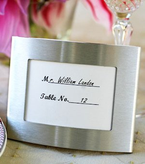 Brushed Silver Curved Place Card Frame image