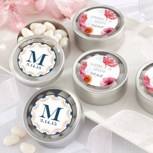 Personalized Botanical Design Silver Candy Tins (Set of 12) image