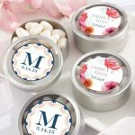 Personalized Botanical Design Silver Candy Tins (Set of 12)