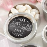Personalized Eat Drink & Be Married Silver Round Candy Tin