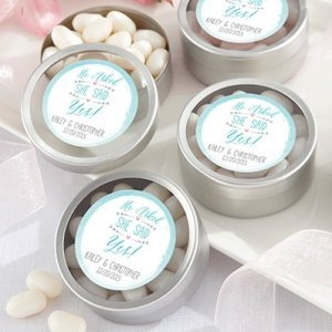 Personalized 'He Asked She Said Yes' Silver Candy Tins image