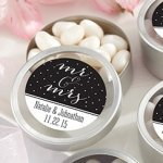 Personalized Mr. & Mrs. Silver Round Candy Tins (Set of 12)