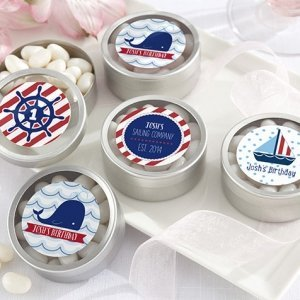Personalized Nautical Birthday Favor Candy Tins image