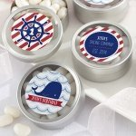 Personalized Nautical Birthday Favor Candy Tins