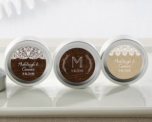 Personalized Rustic Charm Silver Round Candy Tins (Set of 12 image