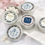 Nautical Themed Personalized Round Candy Tins (Set of 12)