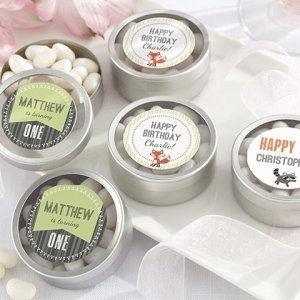 Personalized Woodland Birthday Party Favor Candy Tins image