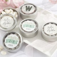 Rustic Themed Personalized Round Candy Tins (Set of 12)