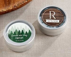 Personalized Winter Design Silver Round Candy Tins (Set of 1 image