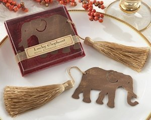 Lucky Elephant Bookmark with Gold Silk Tassel image
