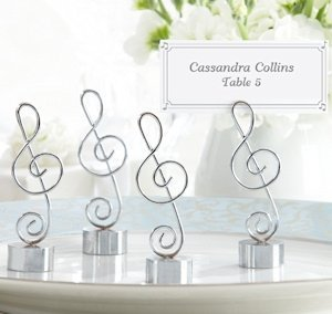 silver finish musical place card holders set of 4 image
