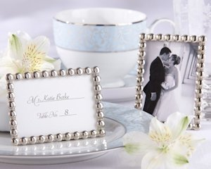 Silver Pearls Wedding Favor Frames image