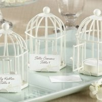 Spring Song Bird Cage Tealight Place Card Holder Favors