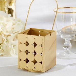 Circle of Love Classic Gold Tealight Lanterns image