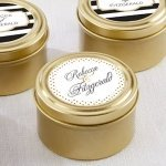 Personalized Classic Design Gold Candy Tins (Set of 12)
