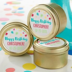 Personalized Happy Birthday Gold Candy Tins (Set of 12) image