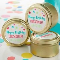 Personalized Happy Birthday Gold Candy Tins (Set of 12)