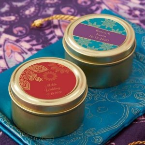 Personalized Indian Jewel Gold Round Candy Tins (Set of 12) image