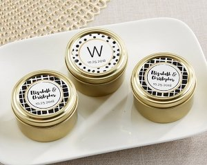 Personalized Modern Classic Gold Round Candy Tins (Set of 12 image