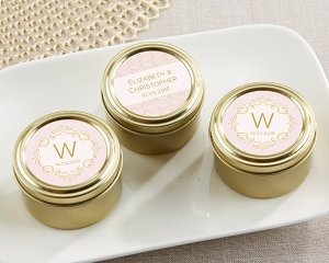 Personalized Modern Romance Gold Round Candy Tins (Set of 12 image