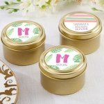 Personalized Pineapples and Palms Gold Candy Tin (Set of 12)