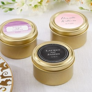 Personalized Wedding Design Gold Candy Tins (Set of 12) image