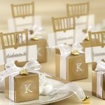 Monogrammed Gold Chair Favor Boxes (Set of 12)