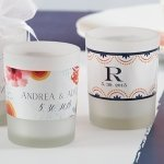 Personalized Botanical Design Frosted Glass Votive