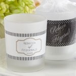 Personalized Classic Design Frosted Glass Votive Favors
