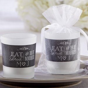 Personalized Eat Drink & Be Married Frosted Glass Votive image