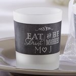 Personalized Eat Drink & Be Married Frosted Glass Votive