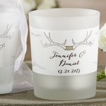 Personalized 'The Hunt is Over' Rustic Frosted Glass Votives